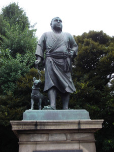 Saigo Takamori walks his dog